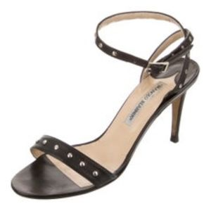 BLACK LEATHER MANOLO BLAHNIK ANKLE STRAP SANDALS